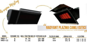 camli plazma radyant acik alan isitma sistemleri